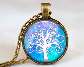 Blue and White Whimsical Tree - Handmade Pendant Necklace