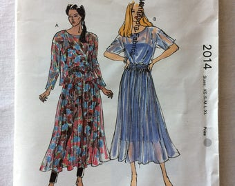 Vintage 1990 UNCUT New Kwik Sew 2014 Misses Size Extra Small (XS), Small, Medium, Large, and Extra Large (XL) Skirt and Top Pattern