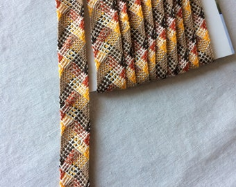 "Woven Shades of Brown Patterned Trim 11/16"" wide x 3 yards long"