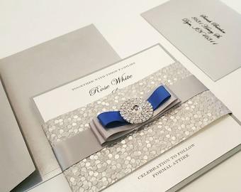 jewel royal wedding invitation bow wedding invite bilingual - Royal Wedding Invitation