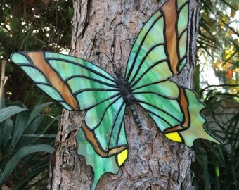 Butterfly home decor, Green butterfly, garden butterfly, butterfly hanger, suncather  ,glass butterfly, stained glass butterfly,