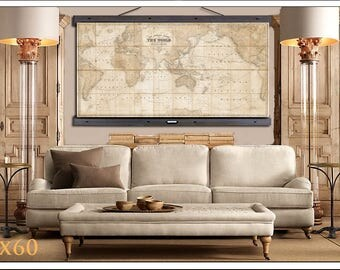 Map world map etsy large vintage world map world map in antique colors world map grand canvas wall gumiabroncs Images