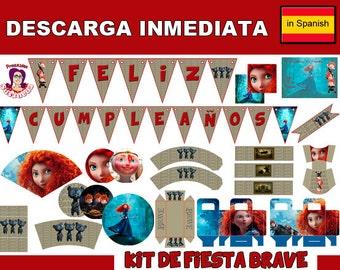 BRAVE PRINCESS Party Kit Printable in Spanish, Instant download! Merida Birthday Decoration,Brave Birthday  Banner in Spanish, Printable kit