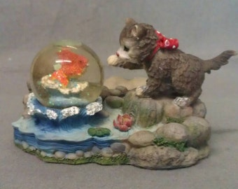 Grey and Beige Cat looking at Fish in Snow Dome Cat Figurine