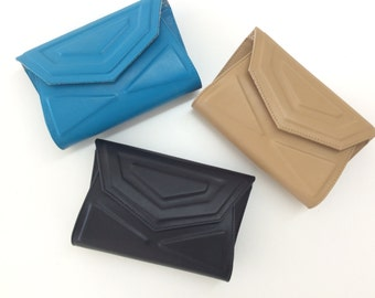 Trinity//Black leather purse.Envelope.Evening clutch.Small leather bag.Statement bag.Wedding purse.Gold chain.Formal clutch.Ready to ship.