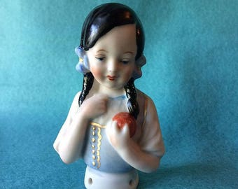 "Half Doll Pincushion Doll Called ""LISA"" German Reproduction (2) Red Apple & Gold Work"