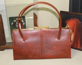 Vintage Handbag/1960's Handbag/Brown Handbag/Reenactment/SALE (Ref1953V)