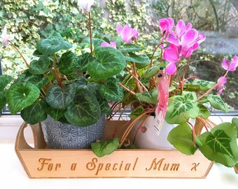 Personalised Wooden Engraved tray/Plant or Herb holder/Mothers' Day/Mum's Gift/ Window Box/Tea-biscuit tray