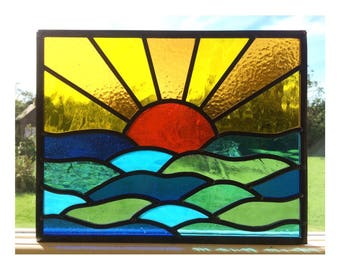 Stained glass sunset and sea window panel, made to order