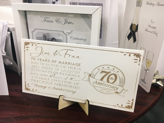 70 Year Wedding Anniversary Gifts: 70th Anniversary Wedding Plaque With Quote Engraved And Stand