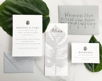 Tropical Invitation, Tropical Save the Date, Palm Leaves Invitation, Banana Leaves Invitation, Beach Themed Invitation Suite - DEPOSIT