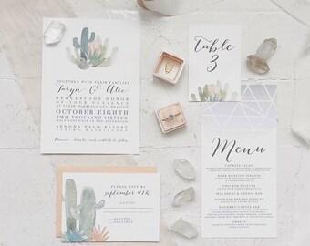 Desert Invitation, Colorful Bohemian Invitation, Cactus Succulent Invitation, Southwestern Invitation, Colorful Bohemian Invite - DEPOSIT