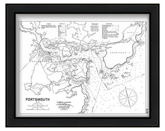 Portsmouth Harbor 1909-Eldridge Chart-Black+White Version