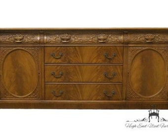 Unique 1940's Antique Louis XVI French Carved Ornate Mahogany 76″ Buffet