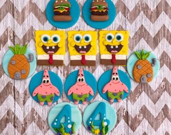 12 Edible fondant SpongeBob squarepants cuicake toppers.