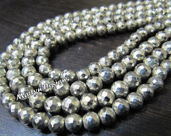 Best Quality Gorgeous Silver Pyrite Beads , Faceted Round Ball Shape Beads , Sold per Strand 10 inch long , 5.5 to 6.5mm Size Pyrite Beads