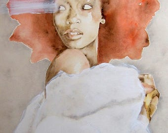 Black woman painting, African woman art, red hair poster, Limited Edicion.