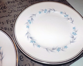 Vintage (c.1970s) Ridgway White Mist line Richmond salad plate. RARE!. Blue flowers, grey leaves, platinum edge and band.