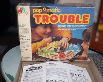 Vintage (c.1986) Pop-O-matic Trouble board game by Milton Bradley.
