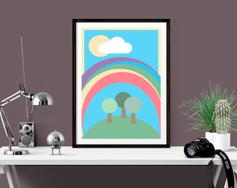 Rainbow Hygge Print, Nordic Dorm Wall Art, Unique housewarming gift, Hygge inspired print, Nursery wall decor, Kitchen wall pint, gift idea