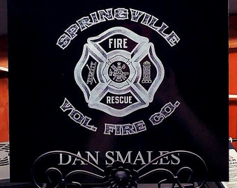 12x12 Polished Black Granite Tile with YOUR Fire Company Logo and text