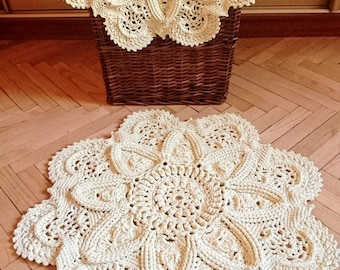 Crochet rug Fundamental - creme ivory color, handmade carpet 32 in. - carpet lace textured home decoration tapis