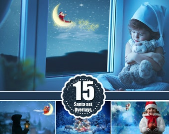 Santa on the moon overlay, Flying santa, Christmas, New Year, winter holiday, Photoshop snow overlay, fairy dreamy fantasy overlays, png