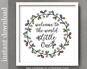 Welcome Baby, nursery decor, nursery printable, nursery wall art, baby quote, baby room decor, nursery print, pastel baby, colorful nursery