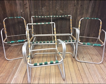 Vintage Aluminum PATIO SET ~ Ready to Reweb ~ rocker loveseat chair pool mid century modern outdoor metal frame strapping webbing