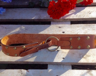 Studded brown leather belt,,AMBERCROMBIE & FITCH