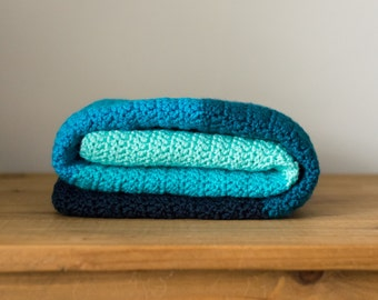 Crocheted 'Cool' Ombre Color Block Baby Blanket-- Blues, Greens