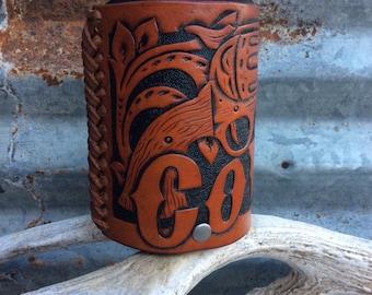 Handmade Leather Beverage Holder, Oklahoma Leather Beverage Holder