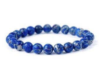 Blue Sea Sediment Bracelet, Natural Blue Bracelet, Beaded Gemstone Stretch Bracelet, Mens Or Woman's Bracelet, Stone Jewellery