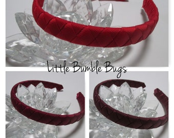 1/2 Woven Headband Everyday and School Wear - Red Wine Burgundy