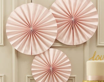 Pink Paper Fan Decorations, Pink Pinwheels, Party Decorations, Wedding Decorations, Baby Shower, Christening Party, Hanging Decorations