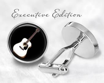 Guitar Cufflinks - Acoustic Guitar Cuff Links - Music Cufflink - Instrument Cufflinks (Pair) Lifetime Guarantee (S0874)