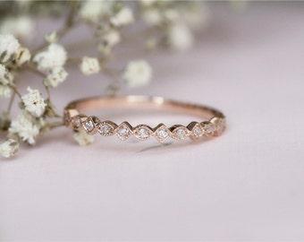14k Rose Gold Diamond Wedding Band/Channel setting Diamonds Band/Half Eternity Diamond Band/Wedding Ring/Match Band