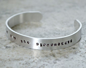 Metal Stamp Cuff Bracelet: Blessed are the Piecemakers - perfect gift for the faith-filled quilter and sewist