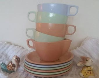 Mid Century Melmac dishes Easter pastels, Genuine Melmac, marked 1958,made in Canada by C.P.L. 6 plates, 4 cups, 1 creamer.