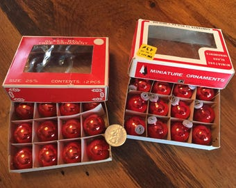 Set of 12 Red Mini Vintage Glass Ornaments--SHIPS FREE!