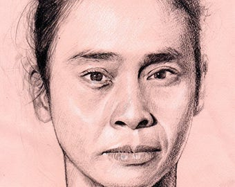 Custom Portrait Size A4, Drawing on Paper from your Photo Single Subject