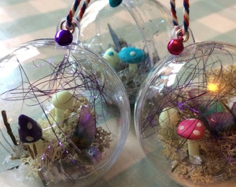 Magical faerie/butterfly wing and toadstool christmas bauble available in 3 colours