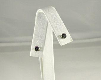 Rainbow Mystic Topaz .65 TCW 4 MM Round Sterling Silver Stud Earrings