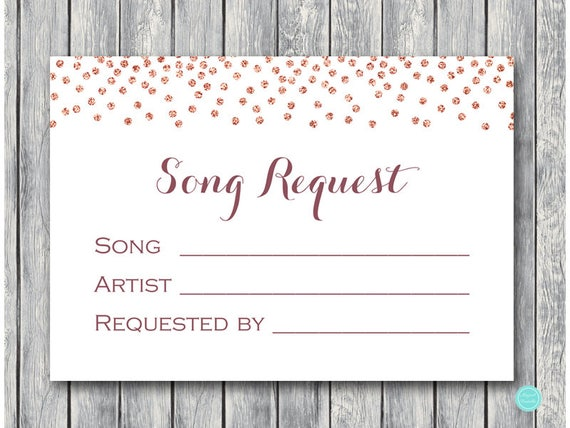 Wedding Song Request Card RSVP With Printable Instant Download TH68