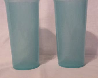 Tupperware pair of 9 ounce drinking glasses tumblers, aqua blue color, #6377A