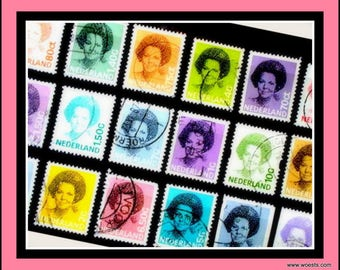18 pieces used postage stamp set of dutch royal queen Beatrix