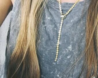 Pyrite flash lariat, coin chain lariat
