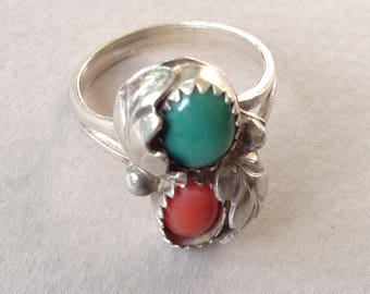Silver Coral Aventurine Southwestern Ring Size 6