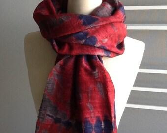 Tie dyed silk shawl, red, 108