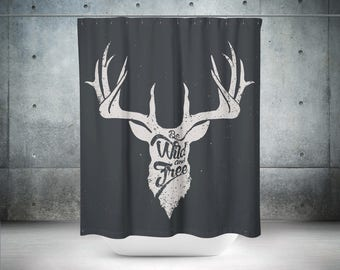 Deer Shower Curtain | Deer Bathroom Decor | Deer Bath Decor | Deer Skull Bathroom Decor | Modern Shower Curtain | Modern Bathroom Decor